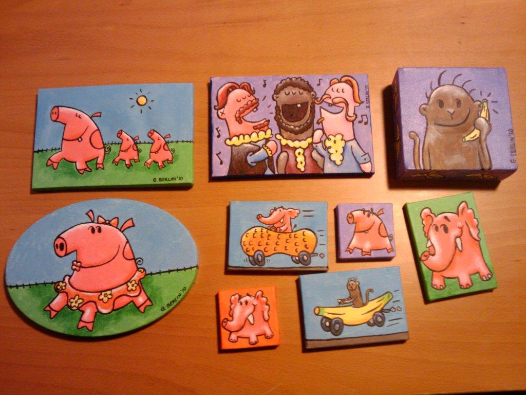 monkey opera singers elephant pigs cute funny cartoon art kids licensing fun childrens George Berlin animation
