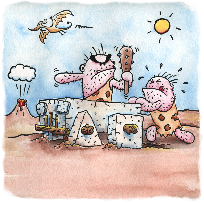 cavemen silly cartoon fun painting watercolor childrens book kids author illustrator Mike Venezia animator George Berlin
