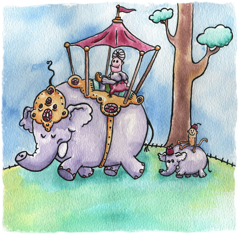 elephants monkey silly cartoon fun painting watercolor childrens book kids author illustrator Mike Venezia animator George Berlin