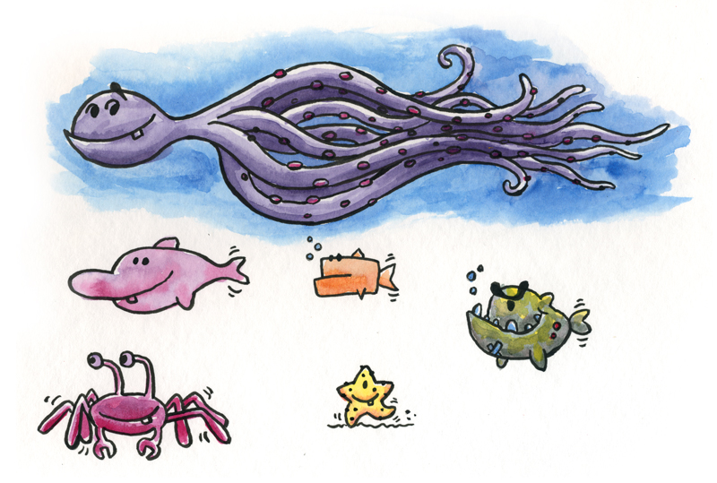 sea creatures kids childrens art illustration illustrator author Mike Venezia George Berlin fun animation